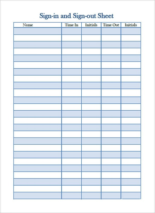 Sign In Template printable sign in sheet templates 15 sign in – Event Sign in Sheet Template Free