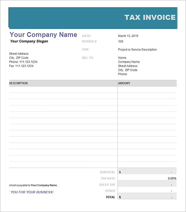 16 Customisable Tax Invoice Templates To Download Free Sample Templates