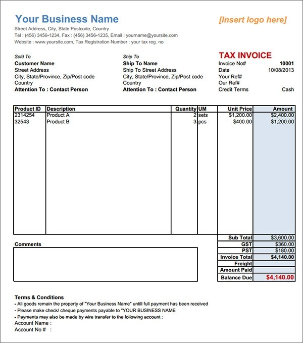 Australian Invoice Template. 10 Tax Invoice Templates Download