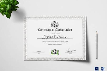 27  Best Printable Certificate of Appreciation Templates   Sample     Women Football Appreciation Certificate Template