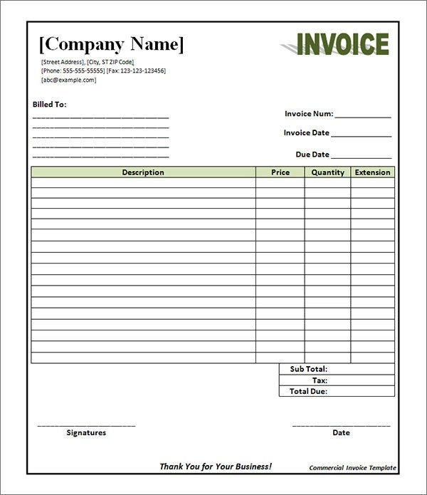 Word Document Invoice Template. Download Free In Excel Pdf. Blank