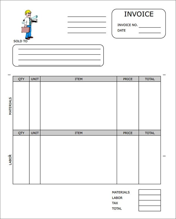 contract work invoice template. sample construction invoice, Invoice templates