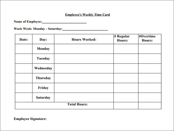 Weekly Time Card Calculator | Infocard.Co