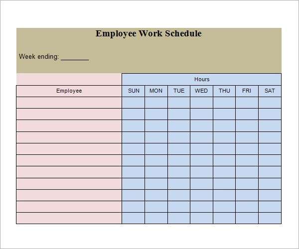 Work Schedule Template 15 download free documents in pdf word – Employee Work Schedule Template