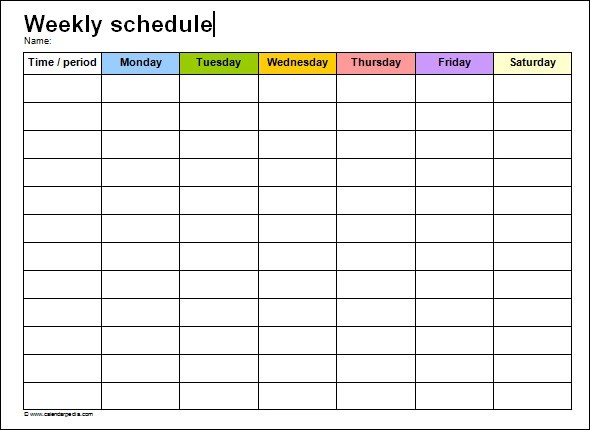 week schedule template pdf