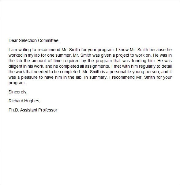 Employer Recommendation Letter Job Recommendation Letter From