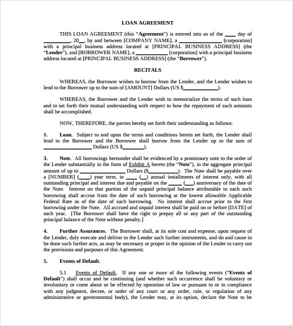 loan agreement templates free word templates collection of ms – Standard Loan Agreement Template Free