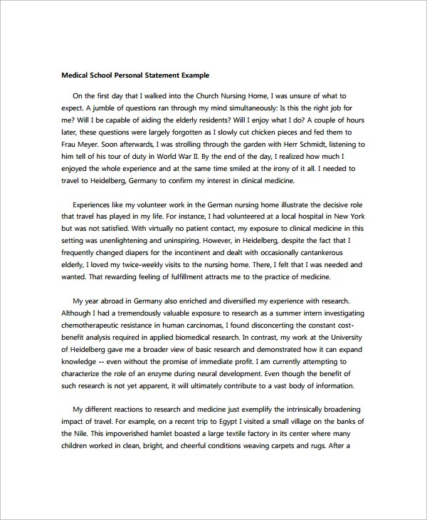 Personal Statement For Medical School Sample Medical School