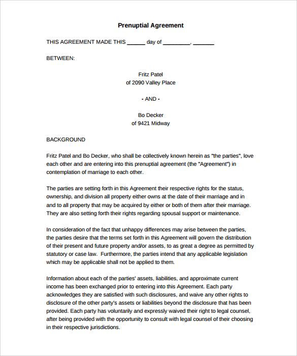 Free 8 Sample Free Prenuptial Agreement Templates In Pdf