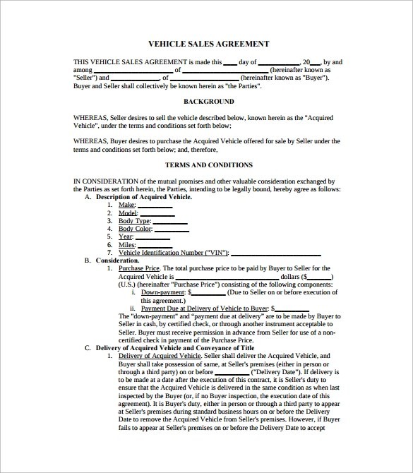 Free 17 Sample Downloadable Sales Agreement Templates In