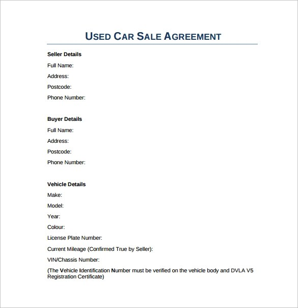 Vehicle Sales Contract Template used cars sale car sales and used – Car Sale Agreement Contract