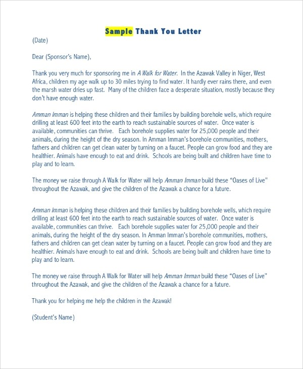 Sponsorship Email Template thank you letter to sponsor sample – Sponsorship Email Template