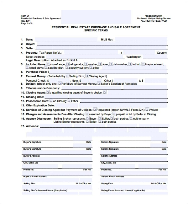 Free 14 Sample Real Estate Purchase Agreement Templates In