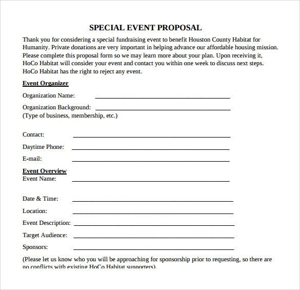 event proposal free events cover