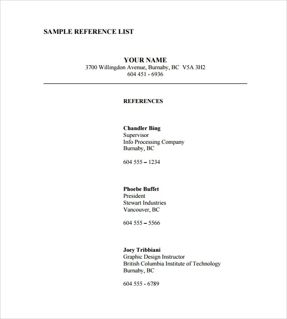 reference list examples