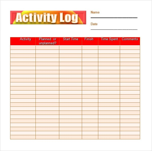 Image result for activity log template images