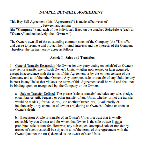 Free 20 Sample Buy Sell Agreement Templates In Word Pdf