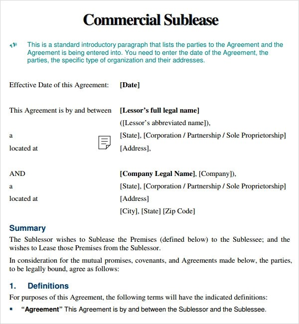 Doc425562 Sublet Agreement Template Free Free Arkansas – Sublet Agreement Definition
