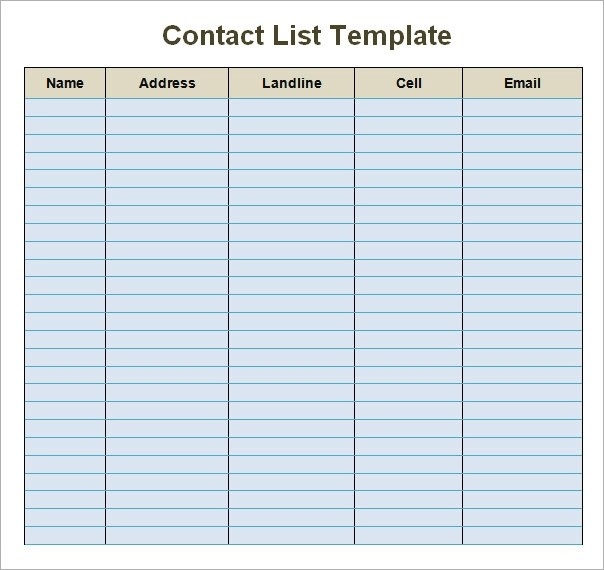 Doc865641 Phone Contact List Template phone list templates – Phone List Templates