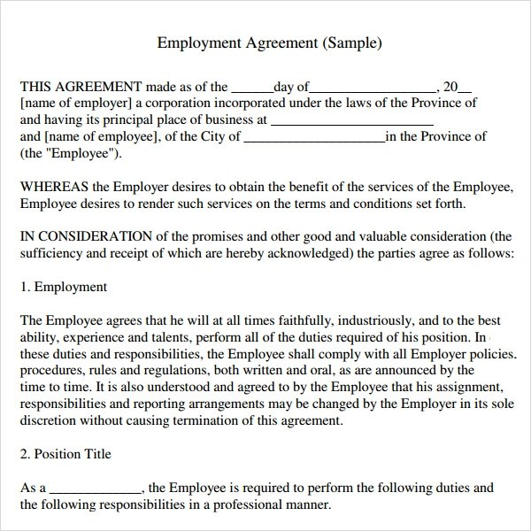 Employee Contract Template. binding. 10 employee contract template ...