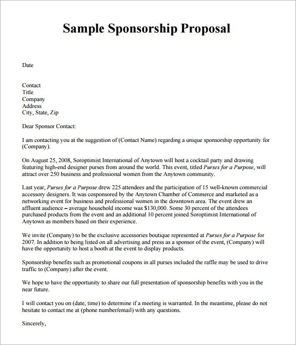 sample proposal for sponsorship for an event images 5 event – Free Event Proposal Template