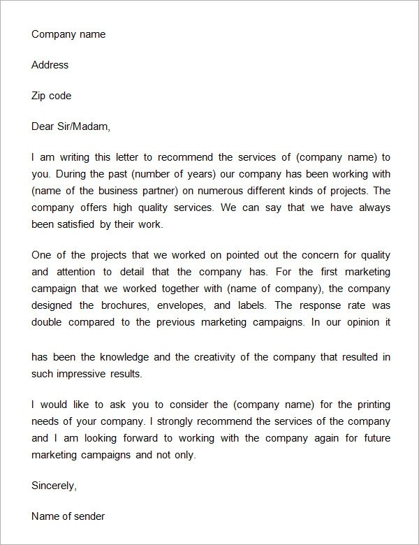 Business Letter Of Recommendation  Docoments Ojazlink