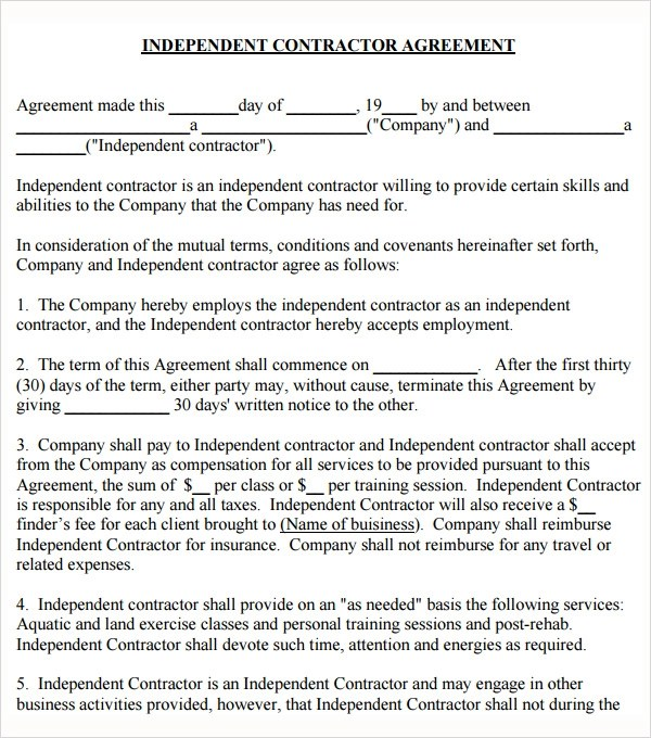 Contractor Agreement. Sample Independent Contractor Agreement ...