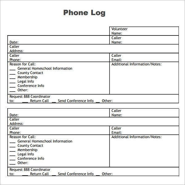 Phone Log Template  Phone Log Template Plantemplate Info