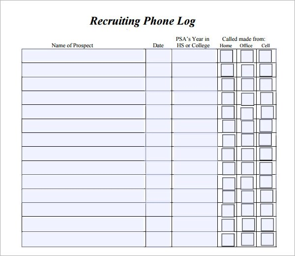 patient call log template