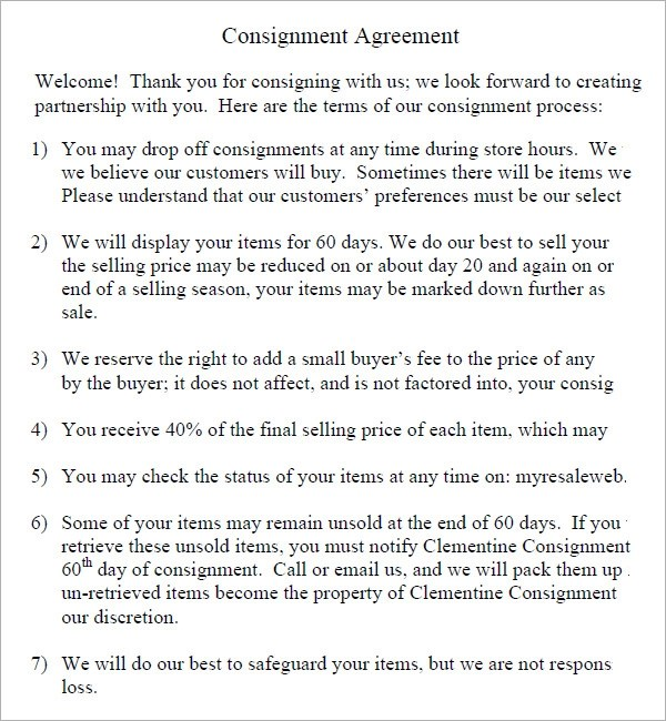 Contracts For Consignment Inventory
