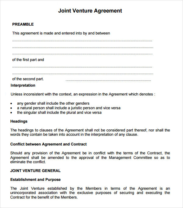 Doc580620 Simple Joint Venture Agreement Sample Sample Joint – Simple Agreement Sample