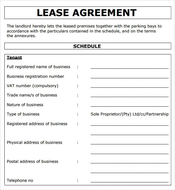 Property Lease Agreement Template commercial lease blank form – Business Property Lease Agreement Template Free