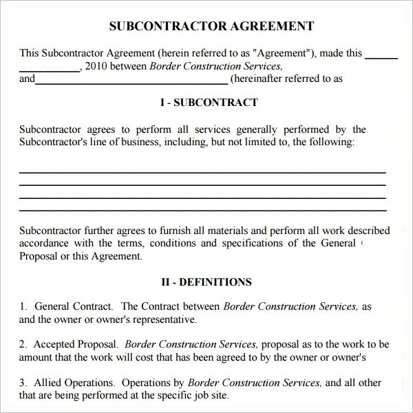 Subcontractor Template. 14 sample agreement to download. website ...