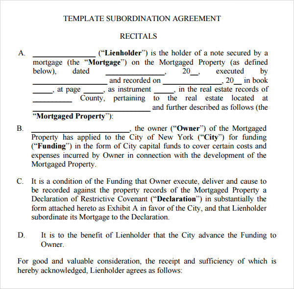 Sample Subordination Agreement 7 Free Documents Download In PDF