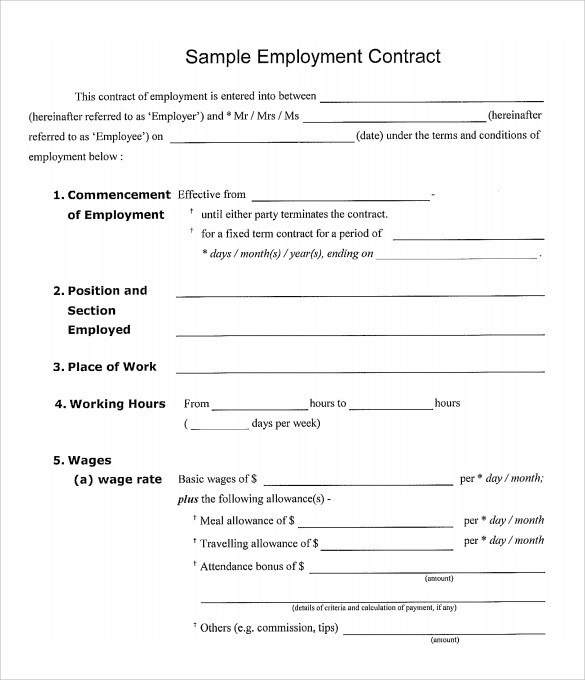 20 Sample Employment Contract Templates Docs Word