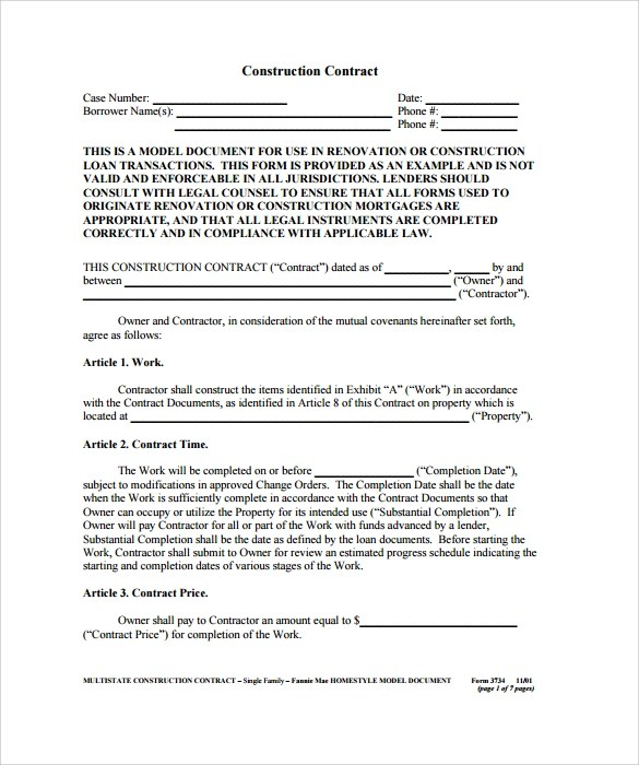 Doc.#540760: Free Printable Construction Contracts – Printable