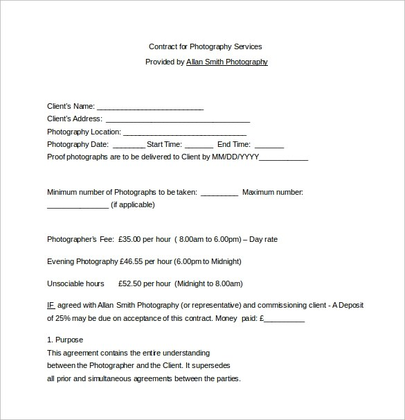 Videography Contract Template Videography Contract Template 9