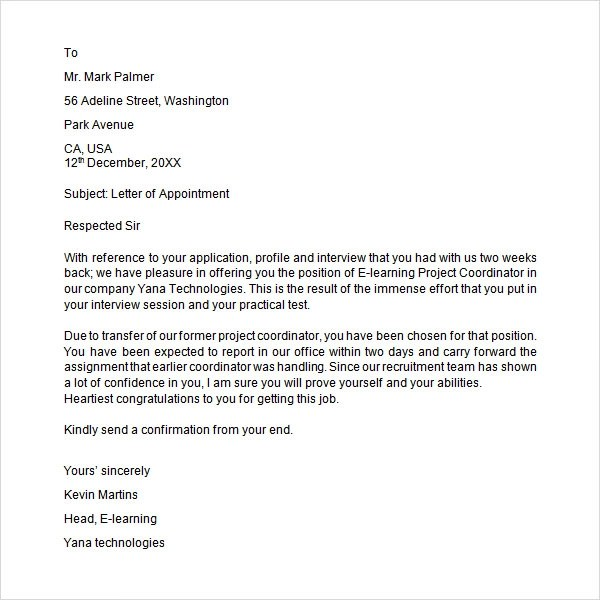 Job Appointment Letter Format In Word India | Docoments Ojazlink