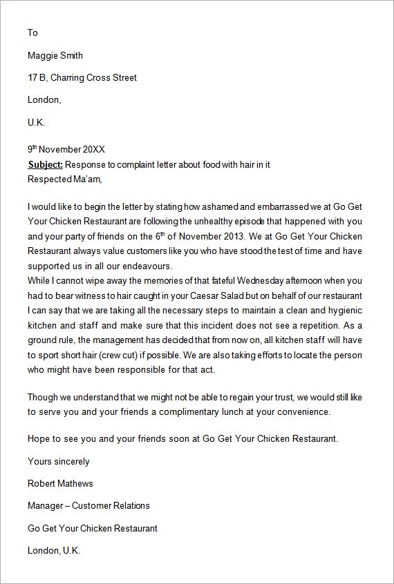 Sample Complaint Letter For Bad Service | Docoments Ojazlink