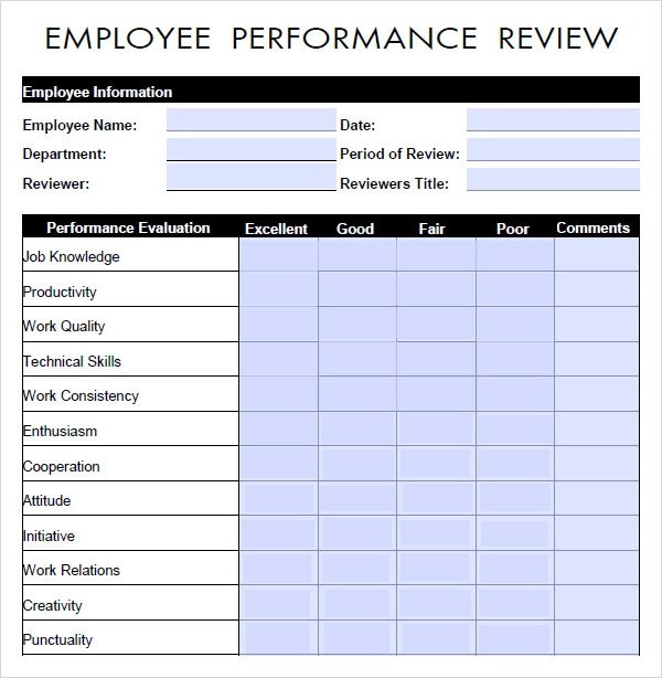 Performance Review Templates Free performance evaluation form – Free Form Templates Download