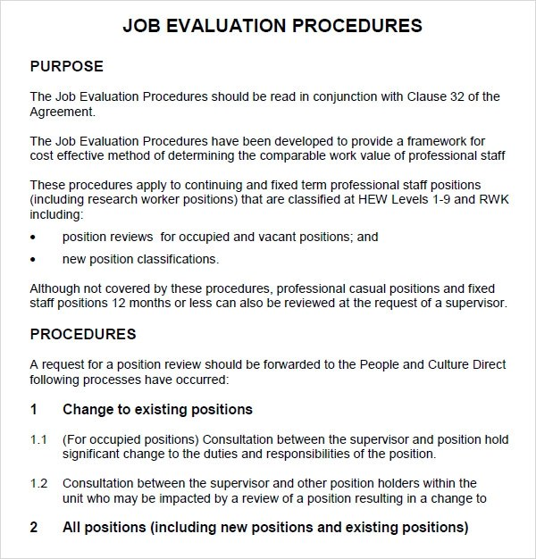 Sample Job Evaluation 9 Documents In Word PDF