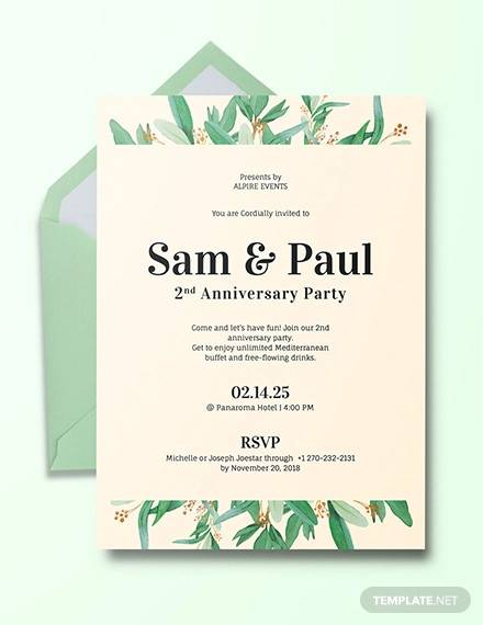 Free 16 Sample Amazing Anniversary Invitation Templates In