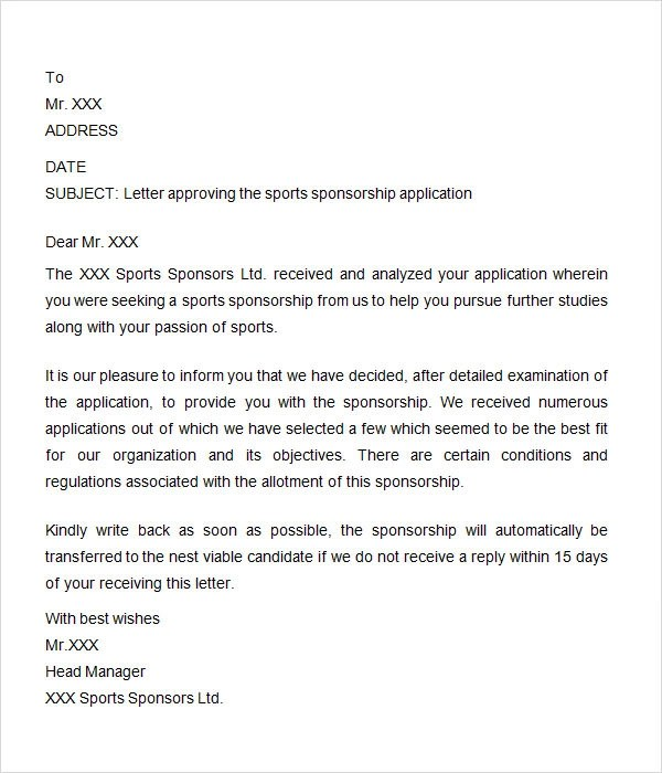 Sports Sponsorship Letter Template  Docoments Ojazlink