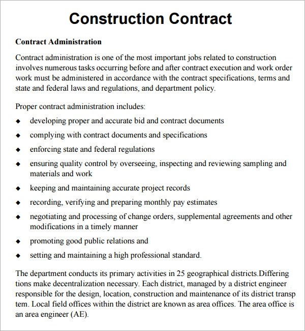 Construction Contract Template Free construction contract – Free Construction Contracts Templates