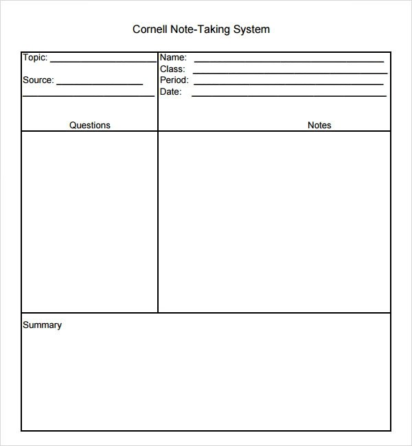 Cornell Note Template Cornell Notes Template 51 Free Word