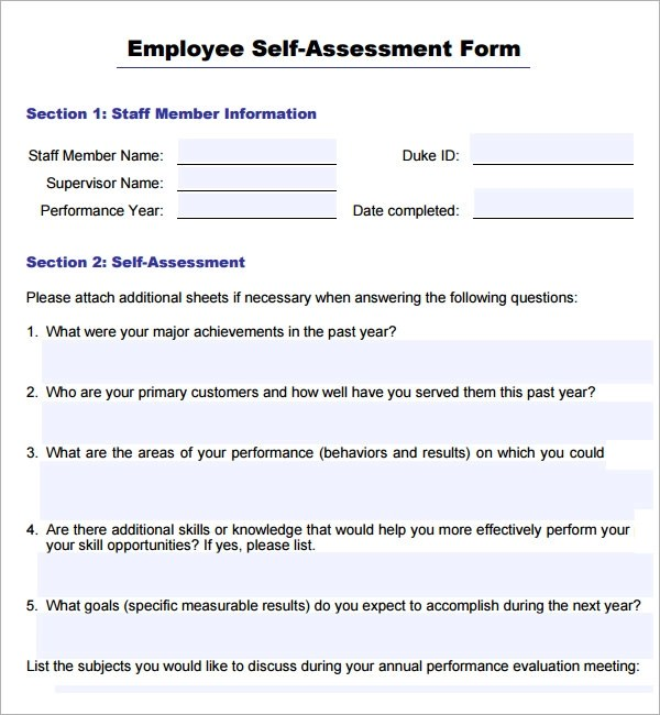 Employee Self Evaluation Form Template  Free Download