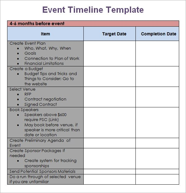 event timeline 9 download free documents in pdf doc
