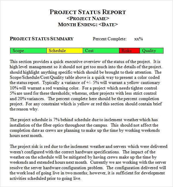 Weekly Project Report Template status free business how to – Weekly Employee Status Report Template