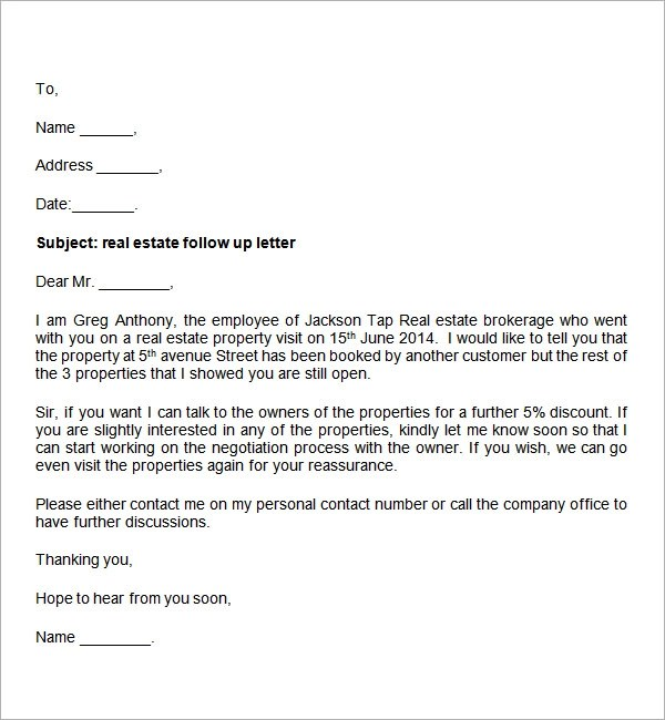 Meeting Follow Letter Template