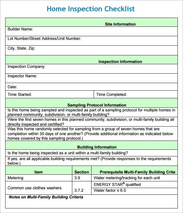Printable Roof Inspection Forms Template